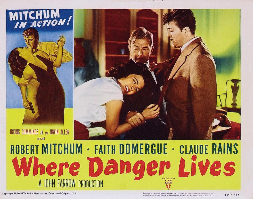 Where Danger Lives (1950) lobby card